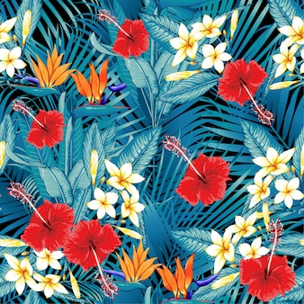 Modèle sans couture oiseau de paradis fleurs tropicales
