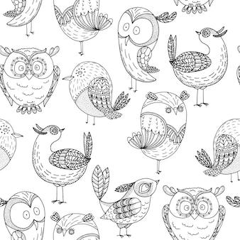Modèle sans couture oiseaux amusants dessinés à la main