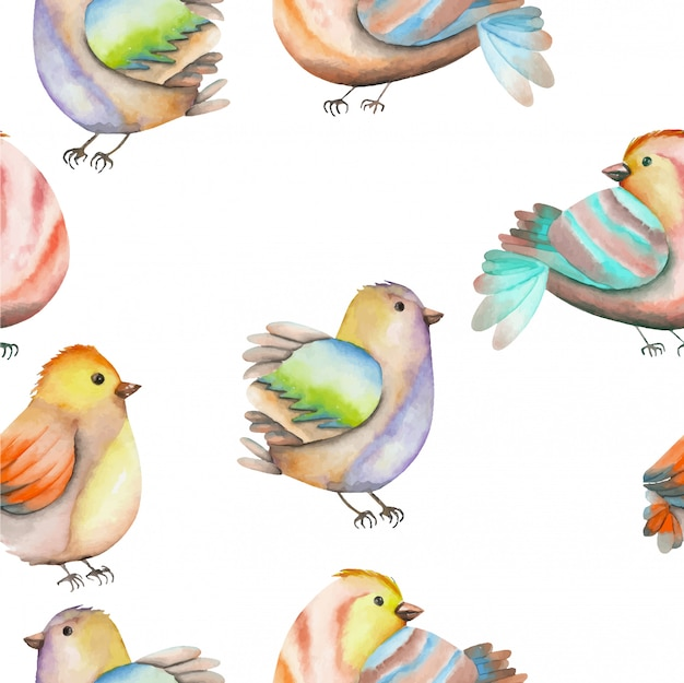 Modèle sans couture d'oiseaux aquarelles