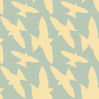 Modèle sans couture, oiseaux blancs dans un ciel bleu.