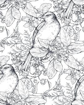 Modèle sans couture avec des oiseaux dessinés à la main à l'encre sur des branches d'arbres en fleurs. fond de croquis sans fin de vecteur