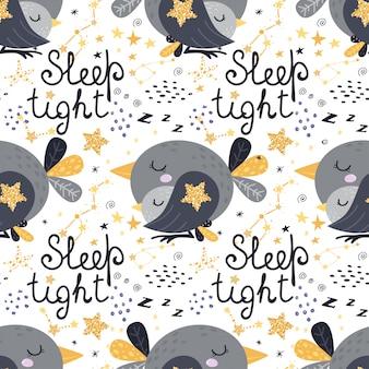 Modèle sans couture avec oiseaux endormis