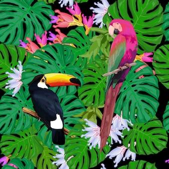 Modèle sans couture d'oiseaux exotiques