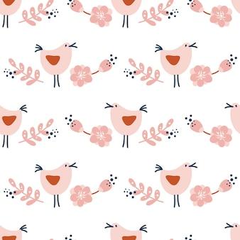 Modèle sans couture avec des oiseaux et des fleurs été illustration scandinave vectorielle dessinée à la main