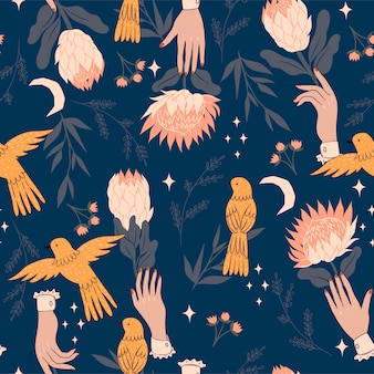 Modèle sans couture avec oiseaux, fleurs protea et mains.