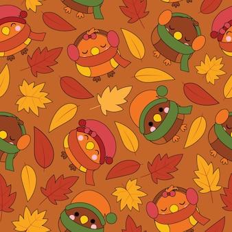 Modèle sans couture avec oiseaux mignons et feuilles d'érable sur dessin animé de vecteur de fond marron adapté pour la conception de papier peint automne, papier brouillon et enfant tissu vêtements fond