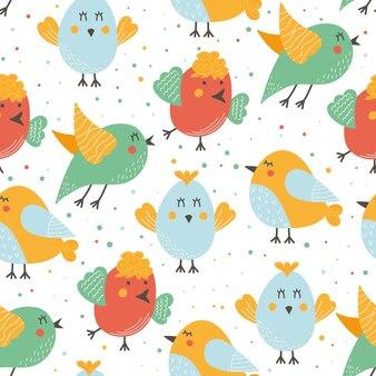 Modèle sans couture d'oiseaux mignons en style cartoon