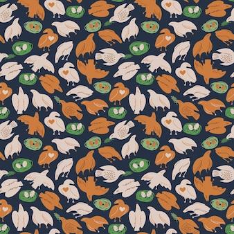 Modèle sans couture avec oiseaux et nid. conception de vecteur mignon pour l'impression, le tissu, le papier peint