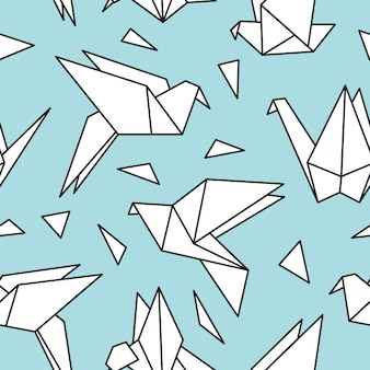 Modèle sans couture avec des oiseaux en origami.