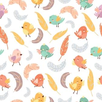 Modèle sans couture oiseaux et plumes