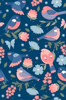 Modèle sans couture d'oiseaux de printemps mignon.