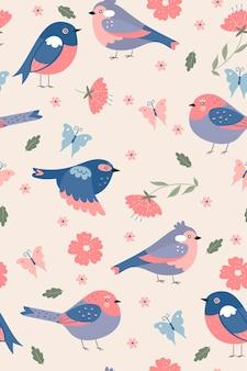 Modèle sans couture d'oiseaux de printemps mignon