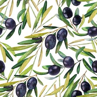 Modèle sans couture d'olives noires mûres aquarelle