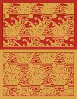 Modèle sans couture or avec des vagues sur le thème du japon. parfait pour l'impression de tissu, la décoration, l'affiche, l'emballage et de nombreuses autres utilisations. le cadre autour du motif est dans un groupe distinct.