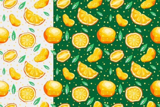 Modèle sans couture orange avec dessin vectoriel fond clair et foncé