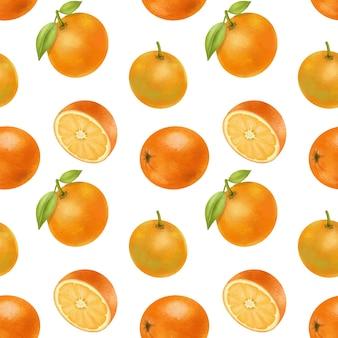 Modèle sans couture avec des oranges dessinés à la main