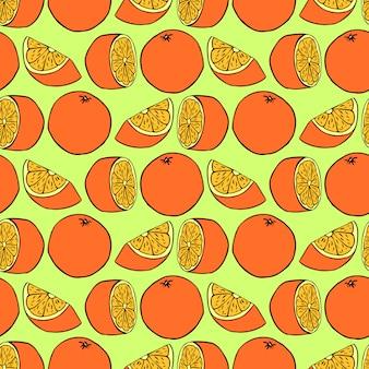 Modèle sans couture avec des oranges. texture transparente de vecteur pour fonds d'écran, motifs de remplissage
