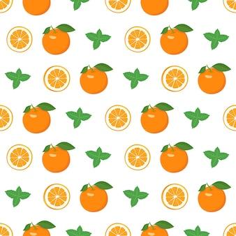 Modèle sans couture avec des oranges et des tranches