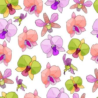 Modèle sans couture avec des orchidées et des éléments floraux.