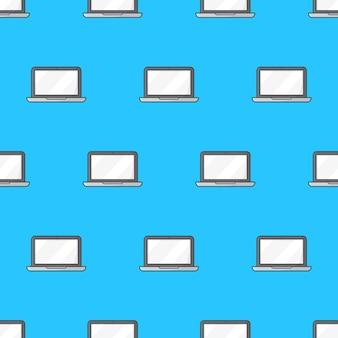 Modèle sans couture d'ordinateur portable sur un fond blanc. illustration vectorielle de thème ordinateur portable