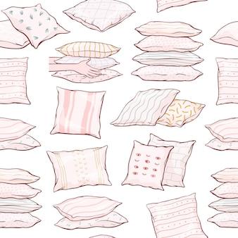 Modèle sans couture avec oreillers dessinés à la main