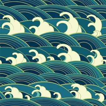 Modèle sans couture oriental traditionnel avec des vagues de l'océan