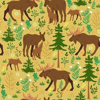 Modèle sans couture avec l'orignal des forêts. graphiques vectoriels.