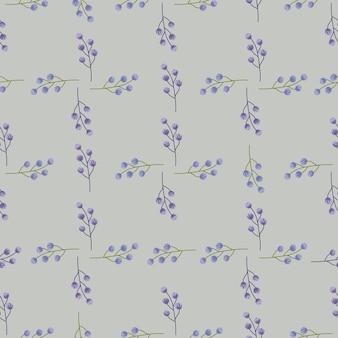 Modèle sans couture d'ornement de branches de petites baies de style géométrique