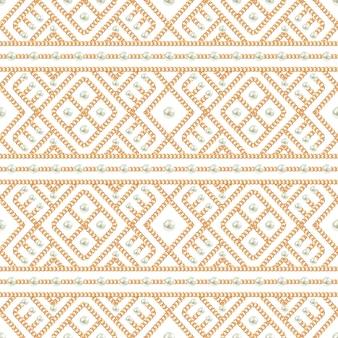 Modèle sans couture d'ornement de chaîne en or et de perles sur fond blanc