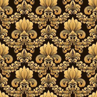 Modèle sans couture d'ornement damassé à l'ancienne de luxe classique