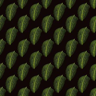 Modèle sans couture d'ornement de feuille de fougère verte dans un style tropical doodle. fond marron foncé.