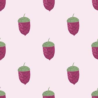Modèle sans couture avec ornement de gland dessiné à la main doodle. ornement de couleur rose et vert. conception graphique pour le papier d'emballage et les textures de tissu. illustration vectorielle.
