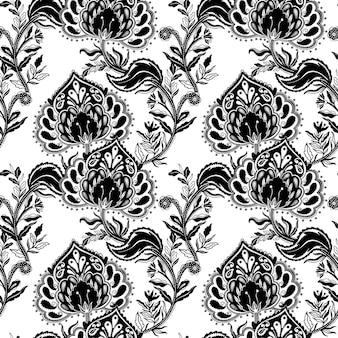 Modèle sans couture ornement motif folklorique style paisley rustique