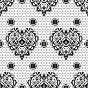 Modèle sans couture d'ornement noir avec des coeurs pour un mariage ou la saint-valentin.