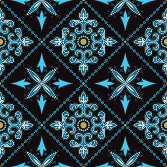 Modèle sans couture d'ornement oriental illustration turquoise et jaune. texture de motif vintage. fond de tissu espagnol indigo.