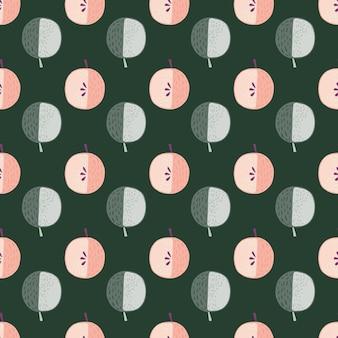Modèle sans couture d'ornement de pommes de couleur rose et bleu.
