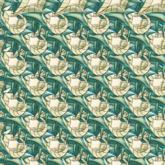 Modèle sans couture ornemental élégant abstrait avec différentes formes de nuances vertes claires et foncées