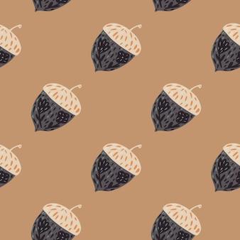 Modèle sans couture ornique de natue avec des formes de gland de forêt. ornement de couleur grise sur fond beige. impression vectorielle à plat pour textile, tissu, emballage cadeau, papiers peints. illustration sans fin.