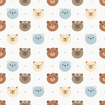 Le modèle sans couture de l'ours blanc et l'ours bleu et l'ours brun à pois. le personnage d'ours mignon dans un style vectoriel plat.