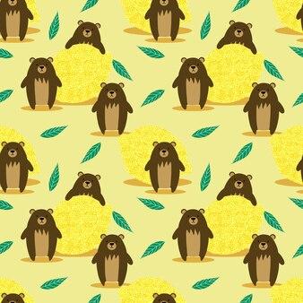 Modèle sans couture ours brun et citron.