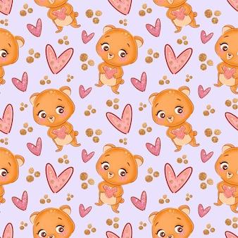 Modèle sans couture avec ours et coeurs