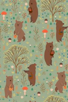 Modèle sans couture avec des ours cueillant des baies et des champignons dans la forêt