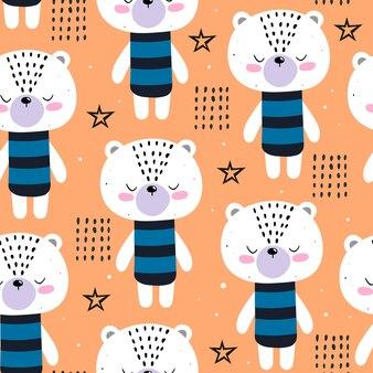 Modèle sans couture avec des ours de dessin animé