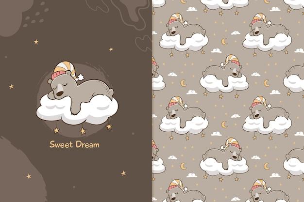 Modèle sans couture ours doux rêve