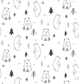 Modèle sans couture avec ours et forêt