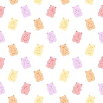 Modèle sans couture d'ours gommeux mignon