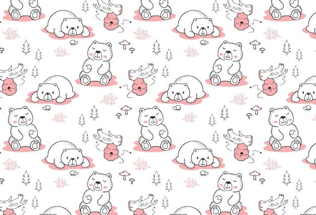 Modèle sans couture ours heureux