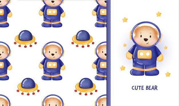 Modèle sans couture avec ours mignon dans l'espace et carte de voeux.