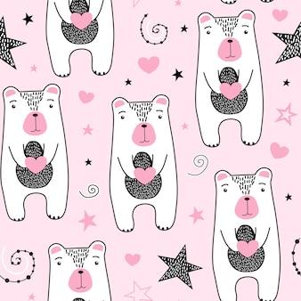 Modèle sans couture avec ours mignon