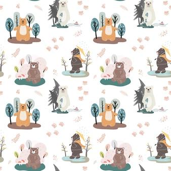 Modèle sans couture avec des ours mignons et différents éléments. illustration dans un style scandinave.